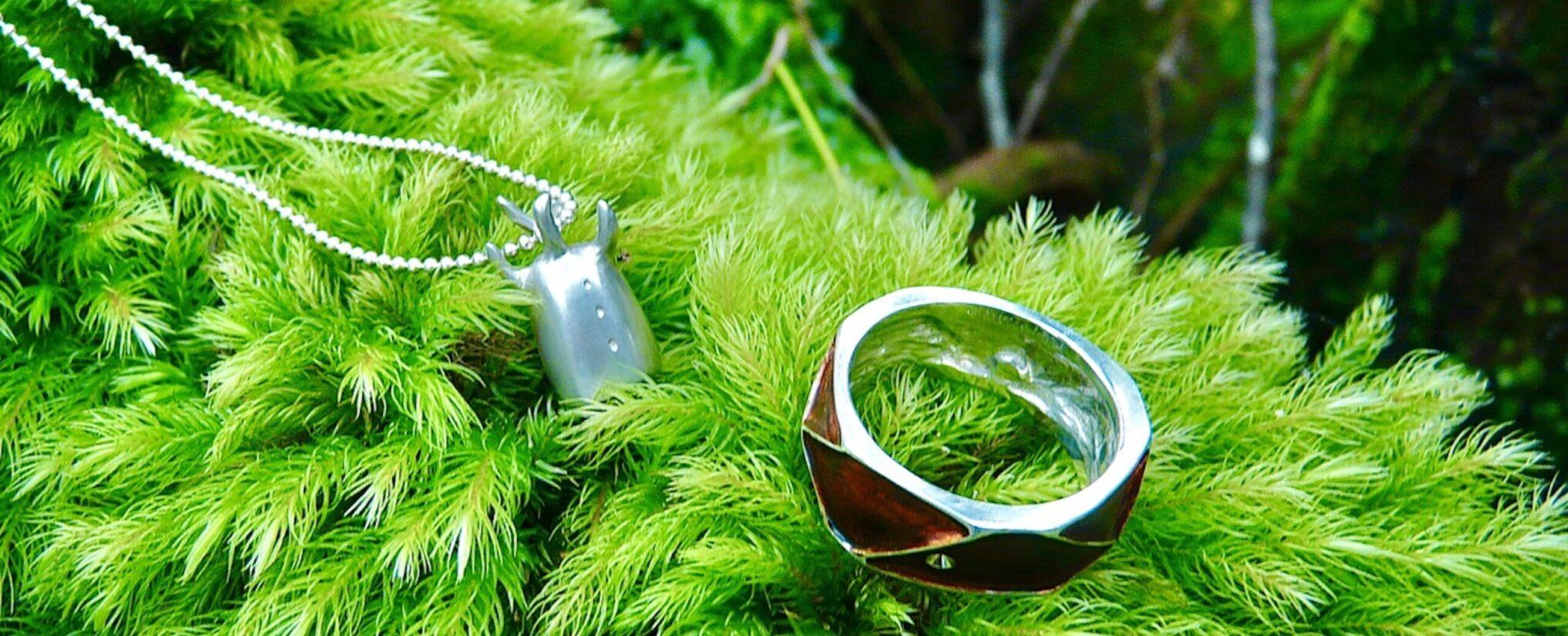 苔の上にシルバーネックレスと漆の指輪